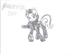 Size: 3510x2550 | Tagged: safe, artist:noideasfornicknames, sweetie belle, pony, robot, robot pony, unicorn, black and white, female, filly, foal, grayscale, gun, high res, hooves, horn, looking at you, machine gun, minigun, monochrome, simple background, solo, sweetie bot, text, weapon, white background