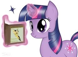Size: 2053x1518   Tagged: safe, artist:steffy-beff, daring do, twilight sparkle, pony, unicorn, book, female, glowing horn, horn, magic, mare, reading, simple background, smiling, solo, telekinesis, unicorn twilight, white background