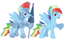Size: 4165x2661 | Tagged: safe, artist:wicklesmack, rainbow dash, pegasus, pony, the crystal empire, spoiler:s03, armor, crystal empire, jousting, lance, male, rainbow blitz, raised hoof, rule 63, simple background, solo, stallion, transparent background, vector