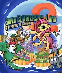Size: 3555x4200   Tagged: safe, artist:docwario, fluttershy, gilda, trixie, zecora, cockatrice, griffon, pegasus, pony, rabbit, zebra, box art, building, castle, crossover, female, game cover, hack, logo, mare, mario, moon, nintendo, parody, style emulation, super fluttershy land 2, super mario bros., super mario land, super mario land 2: the six golden coins, video game, village