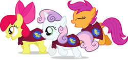 Size: 3999x1886 | Tagged: apple bloom, artist:lumorn, cape, clothes, cmc cape, cutie mark crusaders, running, safe, scootaloo, simple background, sweetie belle, transparent background, vector