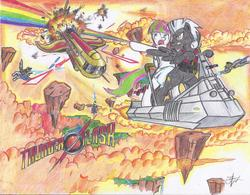 Size: 2182x1700 | Tagged: action pose, artist:masterjosh140, blossomforth, blossomlane, colored pencil drawing, explosion, female, flash gordon, flash gordon movie, flying, hawkmen vs the war rocket ajax, male, parody, pulp hero, pulp style, rocket, safe, shipping, straight, thunder flash, thunderlane, traditional art