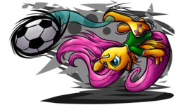 Size: 1920x1152 | Tagged: safe, artist:nuclearsuplexattack, fluttershy, pegasus, pony, abstract background, ball, bicycle kick, clothes, featured image, football, frown, gritted teeth, kick, kicking, lip bite, shirt, simple background, solo, sports, transparent background, upside down