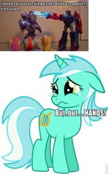 Size: 598x960 | Tagged: safe, applejack, fluttershy, lyra heartstrings, rainbow dash, hand, megatron, optimus prime, roflbot, transformers