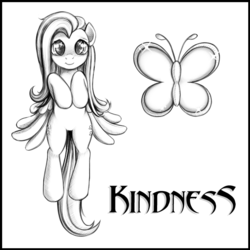Size: 700x700 | Tagged: artist:rainbow, bipedal, butterfly, cute, cutie mark, female, fluttershy, full face view, hooves to the chest, looking at you, mare, monochrome, pegasus, pony, safe, shyabetes, simple background, smiling, solo, white background, wings