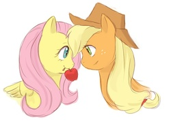 Size: 700x500 | Tagged: apple, applejack, appleshy, artist:yubi, female, fluttershy, lesbian, mouth hold, safe, sharing, shipping, simple background