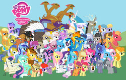 Size: 6407x4074 | Tagged: absurd res, aloe, angel bunny, apple bloom, apple bumpkin, apple cobbler, applejack, berry punch, berryshine, big macintosh, bon bon, braeburn, caramel, carrot top, cloud kicker, cutie mark crusaders, derpy hooves, disappointed, disappointment is magic, discord, dj pon-3, doctor whooves, dr. foreman, everypony, female, filly, fluttershy, foal, gilda, golden harvest, griffon, group shot, lightning bolt, limestone pie, lotus blossom, lyra heartstrings, marble pie, mare, mayor mare, minuette, mr. turnip, octavia melody, opalescence, pegasus, photo finish, pie sisters, pinkie pie, pony, poster, princess celestia, princess luna, rainbow dash, rarity, royal guard, s1 luna, safe, scootaloo, screwball, seafoam, sea swirl, soarin', spike, spitfire, steven magnet, sweetie belle, sweetie drops, time turner, trixie, twilight sparkle, twist, vinyl scratch, white lightning, wonderbolts, zebra, zecora