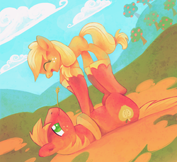 Size: 894x819 | Tagged: dead source, safe, artist:feyrah, applejack, big macintosh, earth pony, pony, apple tree, balancing, brother and sister, cloud, cloudy, cute, duo, eyes closed, featured image, female, filly, foal, freckles, happy, hill, jackabetes, macabetes, male, mare, on back, open mouth, playing, smiling, stallion, tree, weapons-grade cute, yoke, younger