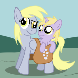 Size: 900x900   Tagged: safe, artist:tranquilmind, derpy hooves, dinky hooves, pegasus, pony, equestria's best mother, female, mailbag, mare