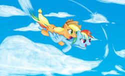 Size: 1314x806   Tagged: safe, artist:darkyosh, applejack, rainbow dash, cloud, cloudy, duo, flying