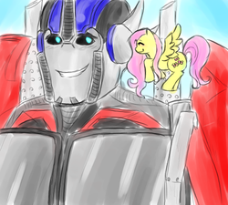 Size: 500x450   Tagged: safe, fluttershy, optimus prime, orion pax, transformers