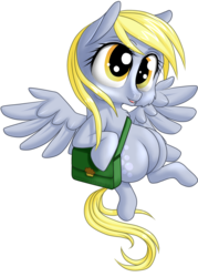 Size: 900x1254 | Tagged: safe, artist:kittehkatbar, derpy hooves, pegasus, pony, chibi, female, mailbag, mare, simple background, solo, transparent background