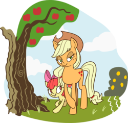 Size: 600x579 | Tagged: safe, artist:grendel-the-monster, apple bloom, applejack