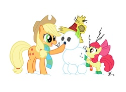 Size: 800x582 | Tagged: safe, artist:deprava, apple bloom, applejack, boots, clothes, duo, hat, scarf, sisters, snow, snowmare, snowpony, winter