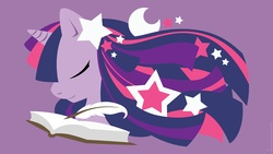 Size: 1920x1080 | Tagged: safe, artist:raygirl, twilight sparkle, pony, unicorn, book, bust, eyes closed, female, horn, lineless, mare, minimalist, modern art, part of a set, portrait, profile, purple background, quill, simple background, solo, stars, wallpaper