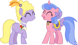 Size: 4800x2777 | Tagged: safe, artist:chir-miru, lyrica lilac, royal ribbon, pony, unicorn, bow, choker, duo, eyes closed, female, hair bow, jewelry, laughing, mare, necklace, pearl necklace, raised hoof, saddle, simple background, tack, transparent background, vector