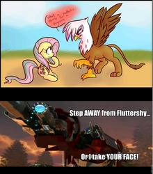 Size: 845x960 | Tagged: fluttershy, gilda, gilda drama, give me your face, griffon, griffon the brush off, optimus prime, safe, transformers
