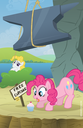 Size: 2008x3071 | Tagged: safe, artist:adiwan, pinkie pie, surprise, anvil, cupcake, food, g1, g1 to g4, generation leap, high res, there can be only one, trap (device)