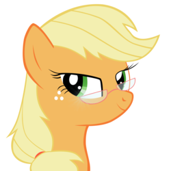 Size: 3307x3307 | Tagged: safe, artist:amethysthorn, applejack, glasses, high res, missing accessory, simple background, solo, transparent background, vector