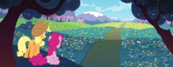 Size: 8000x3148 | Tagged: safe, artist:qsteel, applejack, pinkie pie, earth pony, pony, absurd resolution, duo, road, scenery, wallpaper