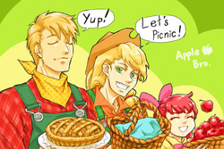 Size: 800x533 | Tagged: dead source, safe, artist:inaba-george, apple bloom, applejack, big macintosh, human, apple, apple bloom's bow, applejack's hat, bandana, basket, bow, cowboy hat, dialogue, eyes closed, food, freckles, hair bow, hat, humanized, picnic basket, pie, smiling, suspenders
