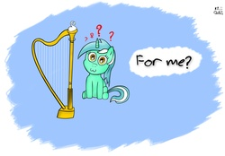 Size: 2824x1971 | Tagged: safe, artist:cheshiresdesires, lyra heartstrings, pony, unicorn, :3, dialogue, filly, harp, musical instrument, question mark, sitting, smiling, solo, younger