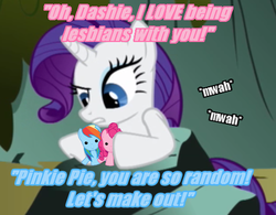 Size: 493x384 | Tagged: safe, pinkie pie, rainbow dash, rarity, pony, female, image macro, lesbian, now kiss, pink text, pinkiedash, ponies playing with ponies, shipper on deck, shipperity, shipping, toy