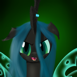 Size: 1000x1000 | Tagged: safe, artist:rodolfomushi, queen chrysalis, changeling, changeling queen, bust, fangs, female, frown, open mouth, smiling, solo
