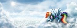 Size: 2128x785 | Tagged: safe, artist:dcpip, rainbow dash, cloud, cloudy, solo