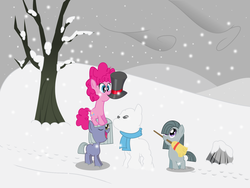 Size: 1600x1200 | Tagged: artist:burnt-sprinkles, broom, clothes, hat, limestone pie, marble pie, pie sisters, pinkie pie, safe, scarf, snow, snowfall, snowpony, top hat
