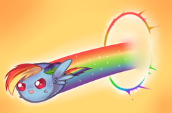Size: 765x504 | Tagged: safe, artist:pekou, rainbow dash, ask my little chubbies, :3, chubbie, chubby, cute, flying, open mouth, solo, sonic rainboom