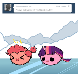 Size: 726x691 | Tagged: safe, artist:pekou, pinkie pie, twilight sparkle, ask my little chubbies, :3, ask, chubbie, chubby, cute, eyes closed, frown, ice skating, open mouth, smiling