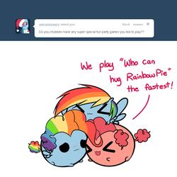 Size: 800x800 | Tagged: safe, artist:pekou, pinkie pie, rainbow dash, ask my little chubbies, :3, ask, chubbie, chubby, cute, female, lesbian, pinkiedash, rainbow pie, shipping, x3