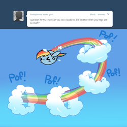Size: 800x800 | Tagged: safe, artist:pekou, rainbow dash, ask my little chubbies, :3, ask, chubbie, cloud, cute, eyes closed, flying, smiling, x3