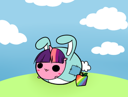 Size: 611x467 | Tagged: safe, artist:pekou, twilight sparkle, ask my little chubbies, :3, :p, apple, bunny costume, chubbie, chubby, clothes, cute, food, smiling, solo, tongue out, zap apple