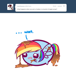 Size: 800x800 | Tagged: safe, artist:pekou, rainbow dash, ask my little chubbies, chubbie, chubby, maple syrup