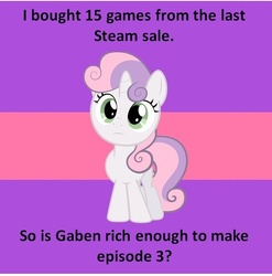 Size: 599x606 | Tagged: safe, sweetie belle, gabe newell, half-life, image macro, question