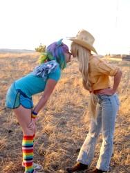 Size: 600x800 | Tagged: safe, artist:liquidshad0w, artist:sakai-mew-sky, applejack, rainbow dash, human, appledash, clothes, cosplay, ears, female, irl, irl human, jeans, kissing, lesbian, photo, rainbow socks, shipping, shoes, sneakers, socks, striped socks, wings