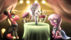 Size: 1280x720 | Tagged: safe, artist:fongsaunder, apple bloom, big macintosh, cheerilee, scootaloo, sweetie belle, earth pony, pony, alcohol, apple bloom the shipper, bottle, clothes, cutie mark crusaders, dress, eyes closed, flower, glass, hat, male, microphone, mouth hold, notepad, pencil, scootaloo the shipper, shipper on deck, stallion, sweetie the shipper, table, tablecloth, tuxedo, vase