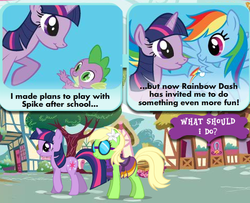 Size: 476x386   Tagged: safe, screencap, rainbow dash, spike, twilight sparkle, oc, adventures in ponyville, official, official content, twilight is a lion