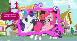Size: 750x401   Tagged: safe, screencap, pinkie pie, rarity, twilight sparkle, oc, adventures in ponyville, official