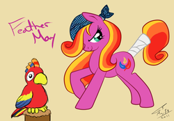 Size: 778x540 | Tagged: safe, artist:kudalyn, feathermay, earth pony, parrot, pony, bandana, pirate, simple background, tail wrap, tan background