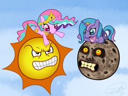 Size: 1600x1200 | Tagged: angry sun, artist needed, crossover, majora's mask, mario, pinklestia, princess celestia, princess luna, safe, source needed, super mario bros., termina's moon, the legend of zelda
