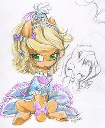 Size: 603x734 | Tagged: safe, artist:th351, applejack, rarity, alternate hairstyle, and then there's rarity, applejack also dresses in style, blushing, clothes, dress, dressup, froufrou glittery lacy outfit, hennin, makeover