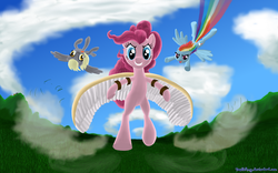 Size: 2000x1250 | Tagged: artist:deathpwny, bipedal, derpy hooves, earth pony, female, flying, mare, pegasus, pinkie pie, pony, rainbow dash, safe, trio, wings