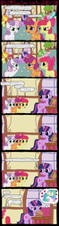 Size: 1024x3870 | Tagged: apple bloom, artist:ficficponyfic, bon bon, carrot top, comic, cutie mark crusaders, female, ficficponyfic you magnificent bastard, golden harvest, lesbian, lyra heartstrings, princess celestia, safe, sandwich, scootaloo, shipping, sweetie belle, sweetie drops, twilestia, twilight sparkle