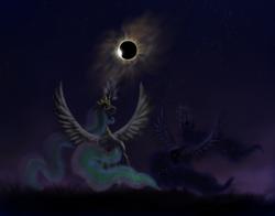 Size: 1000x782 | Tagged: safe, artist:grayma1k, princess celestia, princess luna, alicorn, pony, dark, duo, eclipse, moon, moon work, sun, sun work