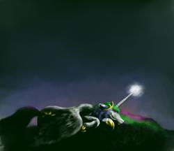 Size: 1024x886 | Tagged: safe, artist:grayma1k, princess celestia, alicorn, pony, dark, glowing horn, sad, solo