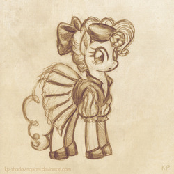 Size: 600x600 | Tagged: safe, artist:kp-shadowsquirrel, pinkie pie, clothes, dress, sketch, solo, traditional art
