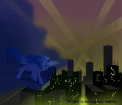 Size: 1024x884 | Tagged: safe, artist:grayma1k, princess luna, alicorn, pony, city, cityscape, light pollution, night, solo